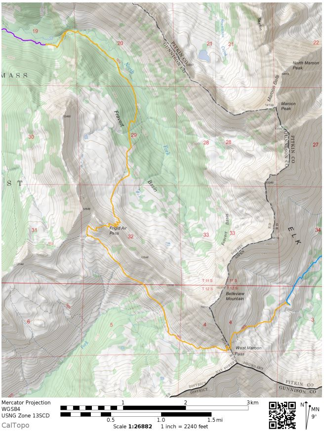 maroon-bells-four-pass-loop-map-day-2