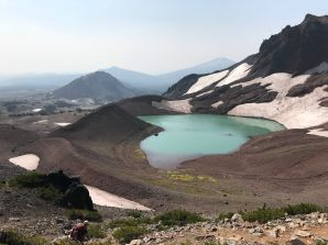 View looking back at No Name Lake, the Ball Butte, and Mount Bachelor from the Broken Hand Ridge