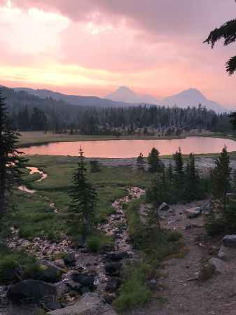 Sunset view from the night one camp at Golden Lake in the Three Sisters Wilderness