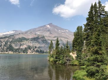 View of the South Sister from across the larger of the Green Lakes.