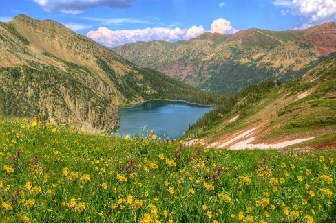 Wildflowers and Snowmass Lake in the background (credit: mrubenstein01)