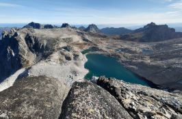 View of the entire Upper Enchantments region which you hike through after Aasgard Pass (on left). In view are Tranquil and (credit: Randy T)