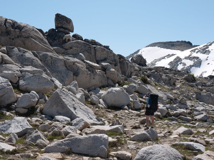 Headed down into the Upper Enchantments, Guylaine photographs a