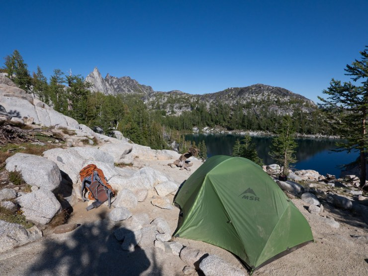 Our campsite at Inspiration lake, overlooking Perfection Lake an