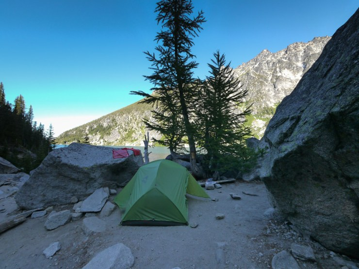 Our campsite at Lake Colchuck amidst the huge RV-sized boulders.