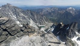 View from Little Annapurna looking East at McCellan Peak (left) and the many towers South of it (right), (credit: Adam Weld)