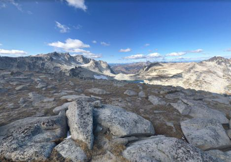 View from Little Annapurna looking Northwest towards Aasgard Pass and Isolation Lake (credit: Adam Elder)