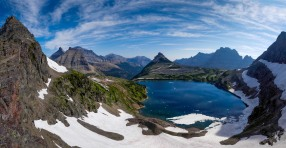 Panoramic view of Sue Lake from the overlook, which is about 2.7 miles and +1,000 feet roundtrip from Fifty Mountain Campgronud (credit: John Strother)