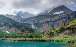 At the ~3 mile mark, the Stoney Indian Pass Trail passes by the scenic Atsina Lake (credit: John Strother)