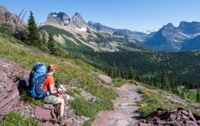 From the Granite Park Campground, you begin hiking to the Swiftcurrent Pass Trail. It is roughly 1.1 miles and 700 feet of climbing to reach the top of Swiftcurrent Pass (credit: John Strother)