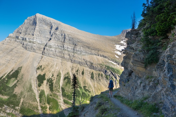 Jean on the Swiftcurrent Pass Trail in Glacier National Park, Montana