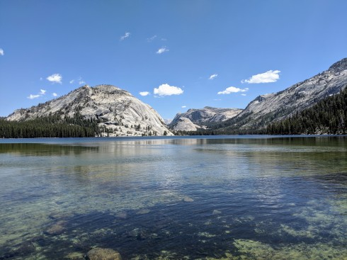 View from the south end of Tenaya Lake with the Polly Dome and Pywiack Dome in the background.