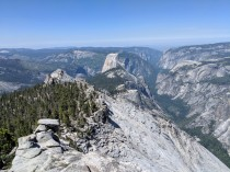 The trail then continues southwest over the summit of Clouds Rest and down towards Half Dome and the Quarter Domes