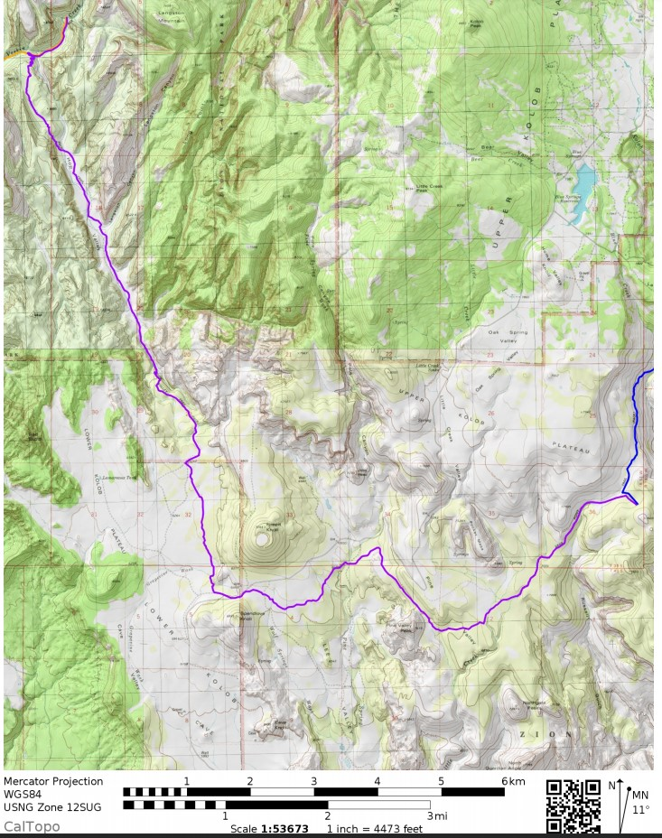 Zion-traverse-backpacking-day-2-map
