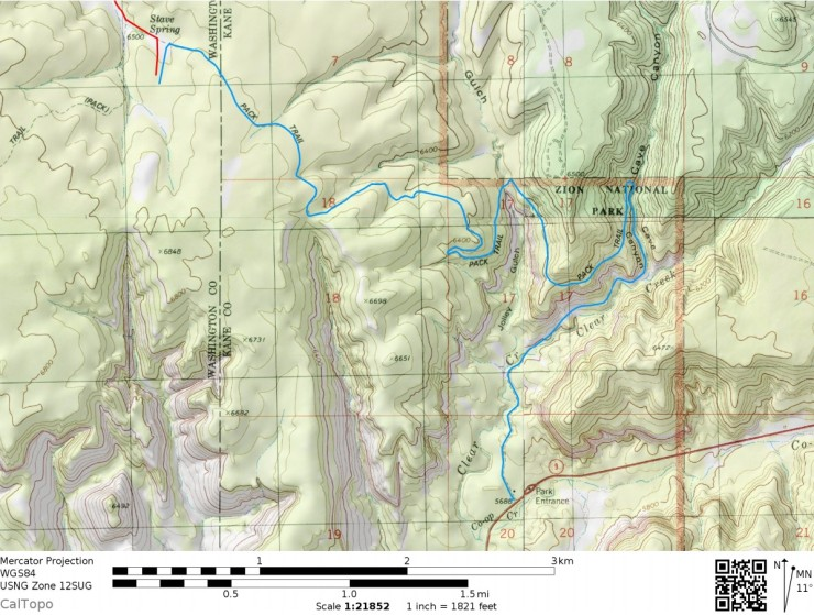 Zion-traverse-backpacking-day-5-map