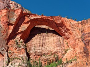 View of the Kolob Arch from side trail during the Zion Traverse backpacking trip in Zion National Park (credit: John Strother)