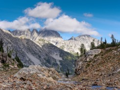 Near the base of the Spider Glacier, there are some very nice campsites that have views of Seven Fingered Jack Mountain across the Phelps Creek Valley. These campsites are scattered near the base of the Spider Glacier and are the suggested camp location for this itinerary (credit: John Strother)