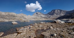 View of the unnamed lake in the Indian Basin with Fremont Peak and Jackson Peak in the background.