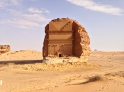 The Qaṣr Al-Farīd Nabataean tomb is one of the largest tombs at the site and is cut into an isolated outcrop, at Mada'in Saleh in Saudi Arabia