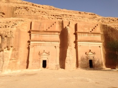 Pair of identical and well-preserved Nabataean tombs at Mada'in Saleh in Saudi Arabia