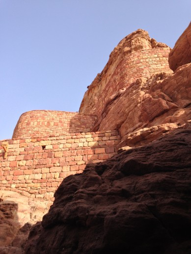 View looking up at the Al-'Ula Castle in Saudi Arabia