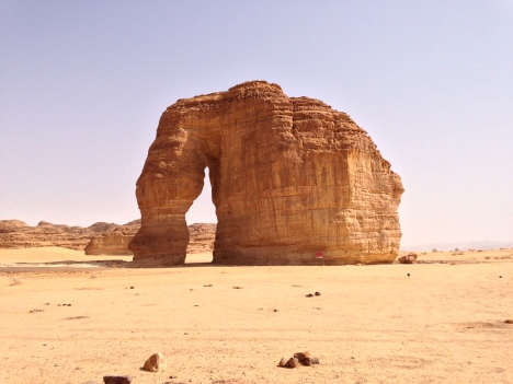 Photo of the large Elephant Rock in the Al-'Ula area of Saudi Arabia