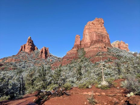 Morning Glory Spire and Cibola Mitten from the Jordan Trail