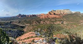 View of Mormon Canyon, Sedona, Capitol Butte, and Steamboat Rock from the Hangover Trail.