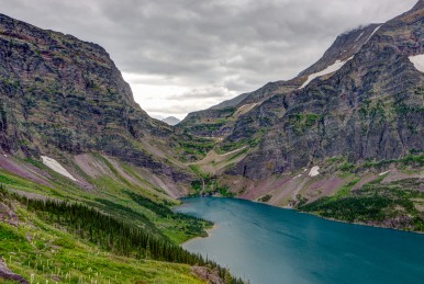 Looking back across Lake Ellen Wilson with Gunsight Pass in the background, in Glacier National Park (credit: John Strothe)