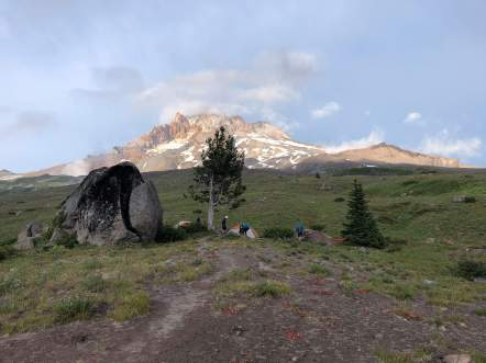 Shortly after the 5 mile mark, there is a short trail that leads to Split Rock. This area makes for a nice lunch spot (or campsite if you want a short first day). There is a good view of Mount Hood