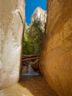 At the ~8.5 mile mark, you reach a ~10 foot waterfall that blocks the canyon (credit: John Strother)