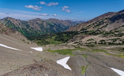 View looking north into the Cameron Creek Valley from atop Cameron Pass in Olympic National Park (credit: John Strother)