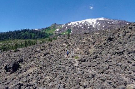 Lava flow and view of Mount St. Helens as seen from the Loowit Trail (credit: John Strother)