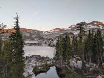 Sunset view from our campsite on Fontanillis Lake in Desolation Wilderness