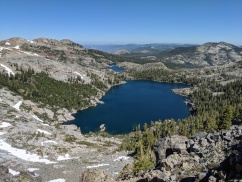 View looking north from Dicks Pass, Dicks Lake, Fontanillis Lake, and Velma Lakes